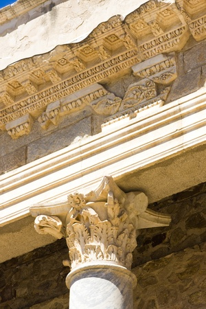 detail of Roman Theatre, Merida, Badajoz Province, Extremadura, Spain