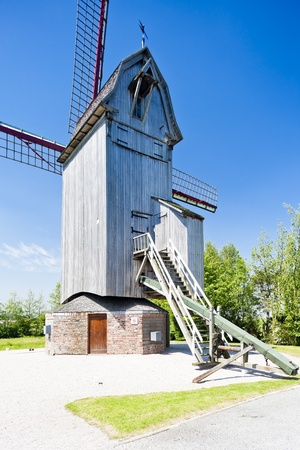 wooden windmill Drievenmeulen near Steenvoorde, Nord-Pas-de-Calais, France Stock Photo - 13531629