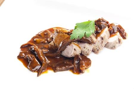 pork tenderloin with oyster mushroom Stock Photo - 13523455
