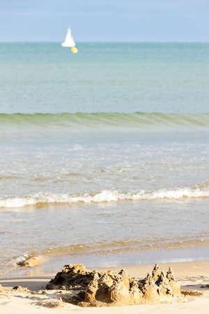 plage: sandcastle in Narbonne Plage, Languedoc-Roussillon, France
