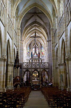 gothic build: interior of basilica Notre-Dame-de-l�Eoine, LEpine, Champagne, France