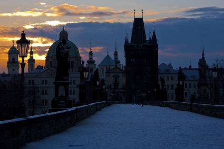 Charles Bridge at dawn, Prague, Czech Republic Stock Photo - 13523824