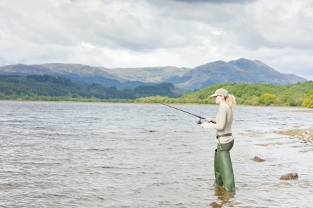 fishing woman, Loch Venachar, Trossachs, Scotland Stock Photo - 13676935