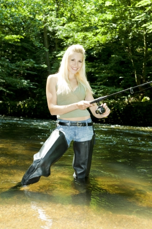 woman fishing in river Stock Photo - 13676938