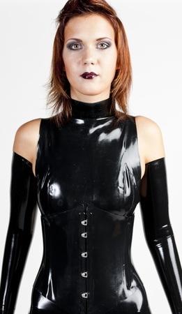 portrait woman wearing latex clothes photo