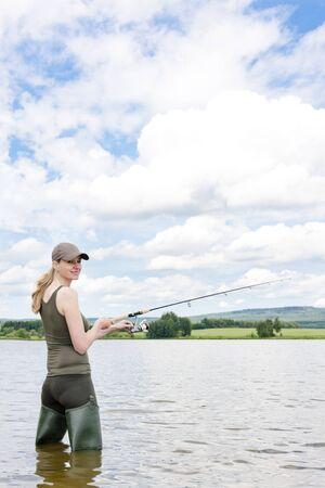 fisherwoman: woman fishing in pond Stock Photo