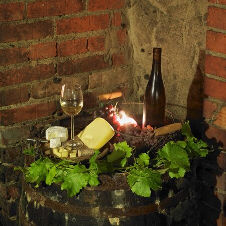 still life in wine cellar, Bily sklep rodiny Adamkovy, Chvalovice, Czech Republic photo