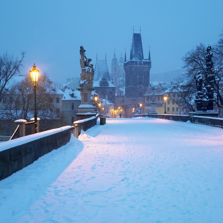 Charles bridge in winter, Prague, Czech Republic Stock Photo - 13893081