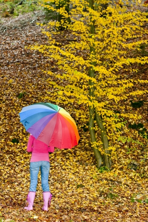 falltime: woman with an umbrella in autumnal nature