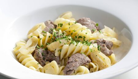 pasta with beef meat photo