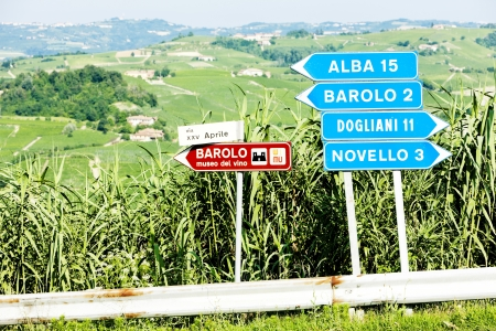signposts near Barolo, Piedmont, Italy Editorial