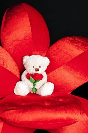 teddy bear on red armchair photo