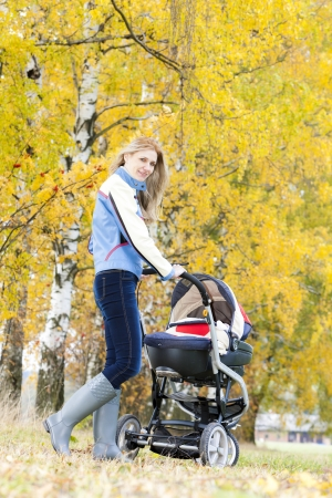 woman with a pram on walk in autumnal alley Stock Photo - 15466733