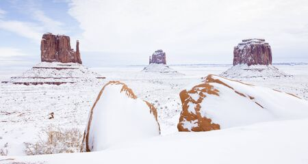 winter The Mittens and Merrick Butte, Monument Valley National Park, Utah-Arizona, USA Stock Photo - 16771654