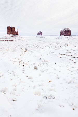 winter The Mittens and Merrick Butte, Monument Valley National Park, Utah-Arizona, USA Stock Photo - 17173453