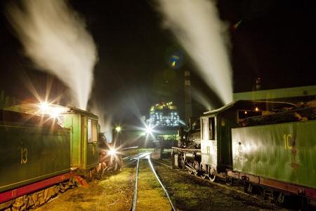 kostolac: steam locomotives in depot at night, Kostolac, Serbia