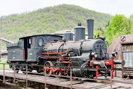 turning table: steam locomotive, Resavica, Serbia Editorial