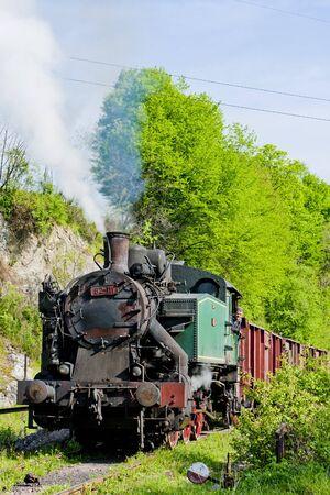 bosna: treno merci a vapore, Durdevik, Bosnia ed Erzegovina Editoriali