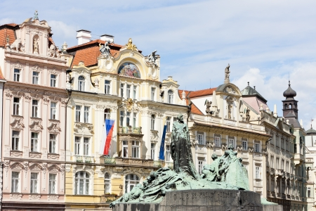 staromestke namesti: Jan Hus Monument at Old Town Square, Prague, Czech Republic Editorial