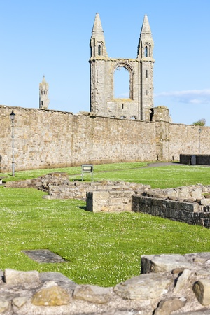 fife: ruins of St. Rules church and cathedral, St Andrews, Fife, Scotland
