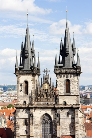 staromestke namesti: Tynsky church at Old Town Square, Prague, Czech Republic