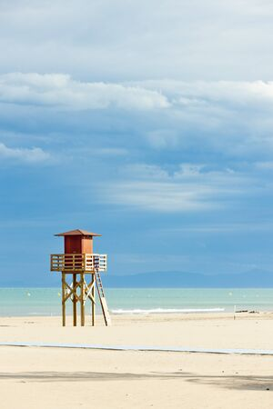 plage: lifeguard cabin on the beach in Narbonne Plage, Languedoc-Roussillon, France Stock Photo
