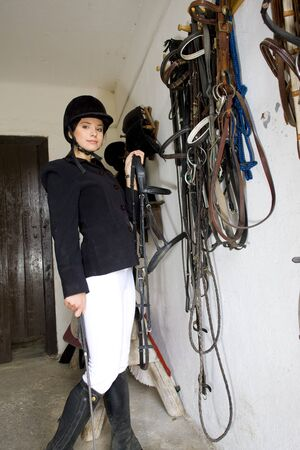 single whip: equestrian in a stable