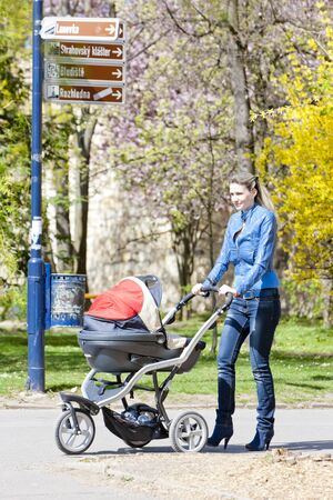woman with a pram on spring walk photo