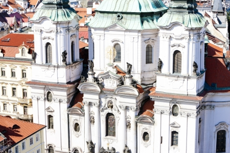 staromestke namesti: Saint Nicholas Church at Old Town Square, Prague, Czech Republic Stock Photo