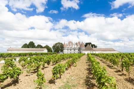 aquitaine: Monbazillac Castle with vineyard, Aquitaine, France Editorial