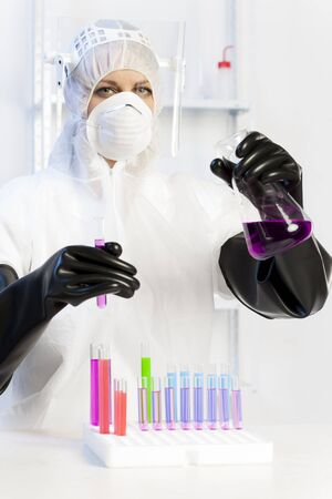 young woman wearing protective clothes in laboratory Stock Photo - 18604313