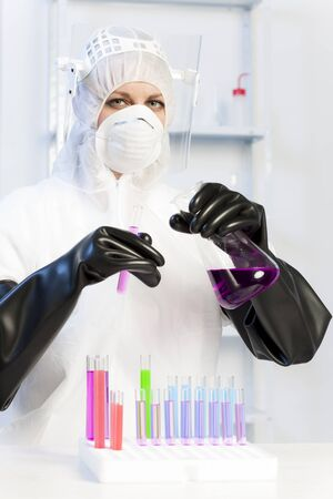 young woman wearing protective clothes in laboratory Stock Photo - 18604368