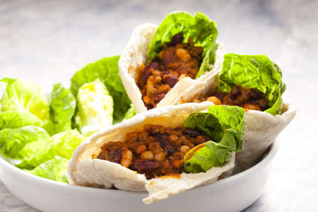 pita bread filled with Mexican mixture Stock Photo - 18639386