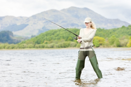 fisherwoman: fishing woman, Loch Venachar, Trossachs, Scotland