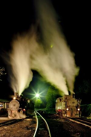 hercegovina: steam locomotives at night, Oskova, Bosnia and Hercegovina