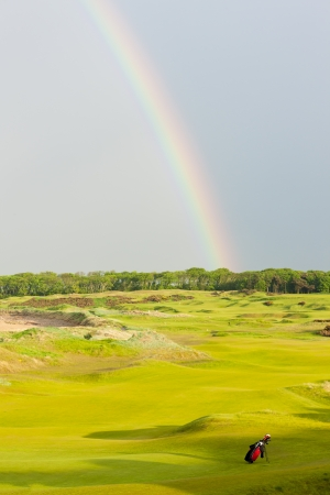 rainbow over the golf course, St Andrews, Fife, Scotland photo