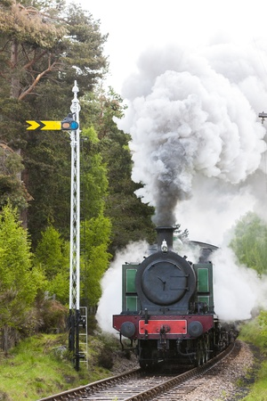 signalling: steam train, Strathspey Railway, Highlands, Scotland