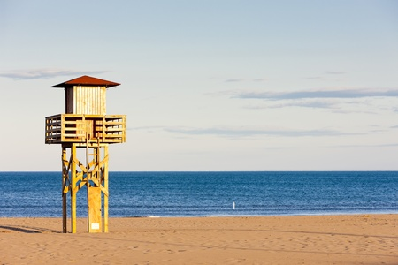 lifeguard cabin on the beach in Narbonne Plage, Languedoc-Roussillon, France Stock Photo