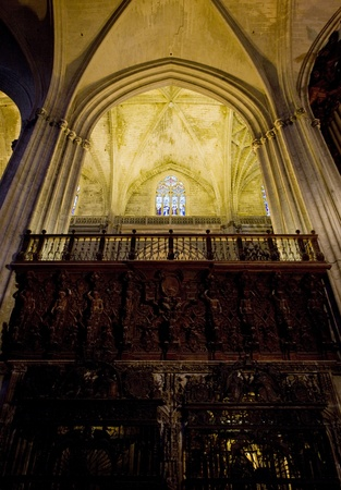 gothic build: interior of Cathedral of Seville, Andalusia, Spain Editorial