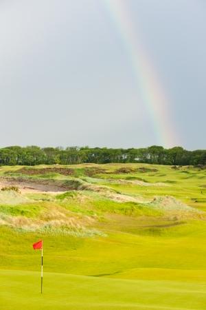 andrews: rainbow over the golf course, St Andrews, Fife, Scotland