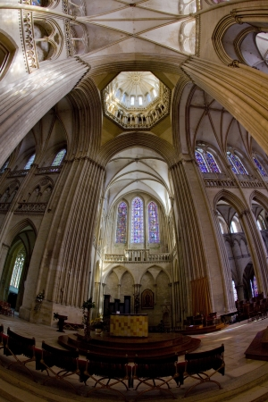 gothic build: interior of Cathedral Notre Dame, Coutances, Normandy, France Editorial