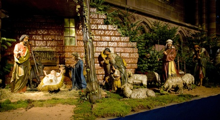 christmas ornamentation: crib in Cathedral Notre Dame, Strasbourg, Alsace, France