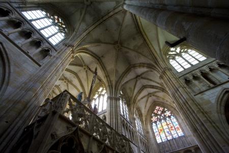gothic build: interior of basilica Notre-Dame-de-lEoine, LEpine, Champagne, France Editorial