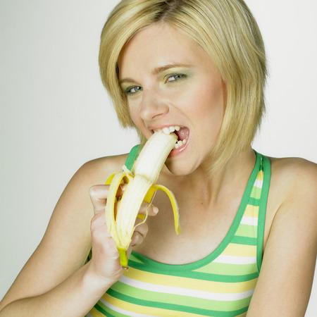 woman with banana photo