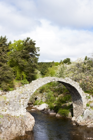 strathspey: Old Packhorse bridge, Carrbridge, Highlands, Scotland Stock Photo