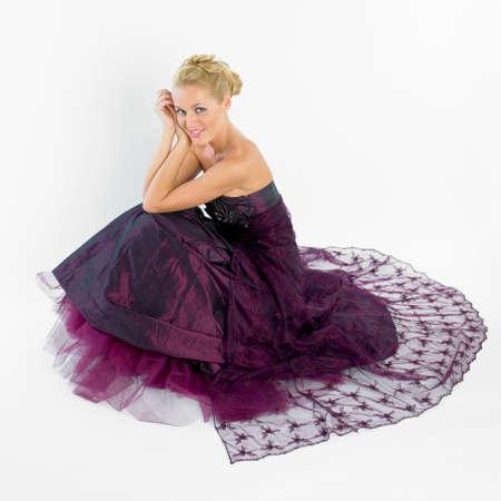 festival moments: woman wearing formal dress Stock Photo