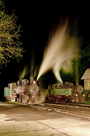 bosnia hercegovina: steam locomotives at night, Oskova, Bosnia and Hercegovina