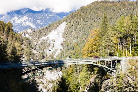 the silence of the world: Alps landscape with a bridge near Versam, canton Graubunden, Switzerland Stock Photo