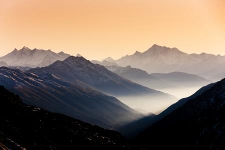 view from Furkapass to Andermatt, canton Graubunden, Switzerland