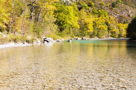 quietness: valley of river Verdon in autumn, Provence, France Stock Photo